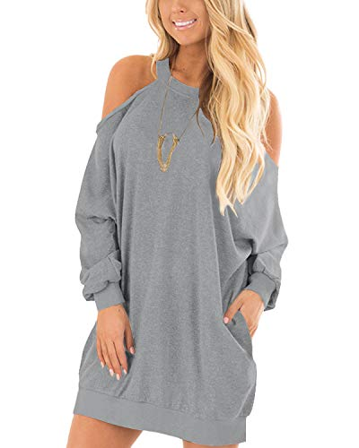 YOINS Vestido Mujeres Hombro Frío Elegante Moda Camisetas Manga Larga Cuello Redondo Túnica Tops Color Sólido Suéter Gris XL