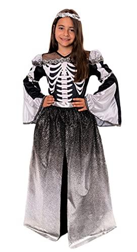 Magicoo Disfraz de princesa de esqueleto plateado para Halloween, incluye vestido y tocado, tallas de 110 a 140, disfraz de vampiro para niños (122/128)