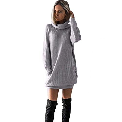 SHOBDW mujer de Punto Vestido de Cuello de Rollo de Vestido de Puente Damas Mini tamaño (Gris, S)