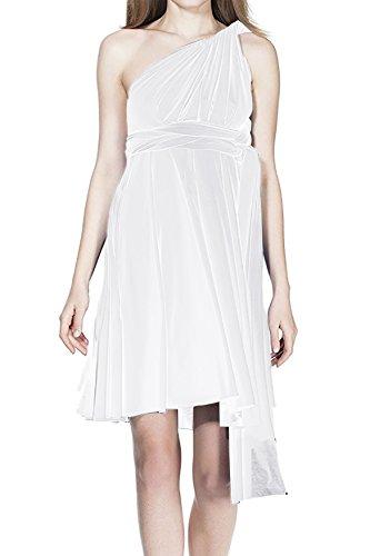 FYMNSI Vestido de Fiesta de Mujer Dama de Honor de la Boda Convertible Multiway Vendaje V-Cuello Sin Mangas Corto de Boho Ceremonia Vestidos de Cóctel Elegante Transformadas Verano Dress Blanco XS