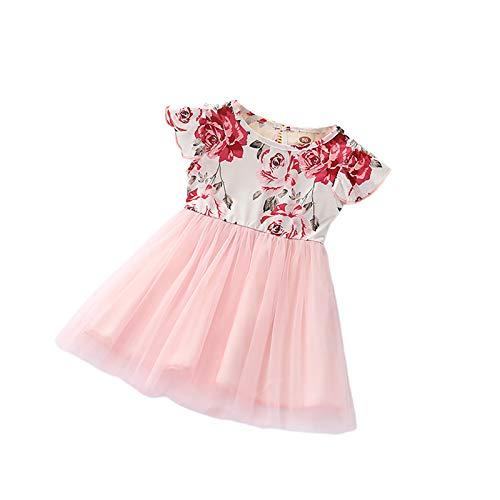 Vestido de niña con estampado floral de manga corta con volantes, vestido de princesa, cuello redondo con lazo rosa, vestido de novia de dama de honor de 1 a 3 años Rosa 12-18 Meses