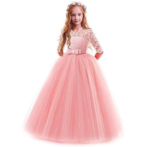IWEMEK Vestidos de Princesa Fiesta de la Boda de Las Niñas 3/4 Largo Manga Tul Vestidos de Dama De Honor Fiesta Graduación Comunión Cumpleaños Paseo Baile Cóctel Vestido de Novia 5-6 Años