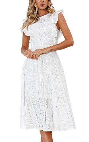 ECOWISH Vestidos de mujer elegantes volantes Cap mangas verano una línea de vestido midi