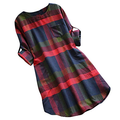 Vestido de Bolsillo a Cuadros Mujer,Vestido Camisero Retro De Manga Larga Moda Otoño E Invierno Camisa Casual Vestido De Gran Tamaño Gusspower