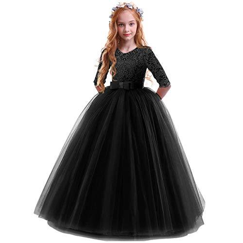 Vestido de Fiesta de Tul de Encaje Falda de Princesa para Niñas - 3/4 Largo Manga Boda Fiesta Graduación Comunión Cumpleaños Paseo Baile Cóctel Vestido de Novia Negro 13-14 Años