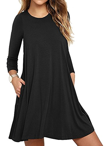 Vestidos de Mujer, Vestido de Camiseta, Manga Larga O-Cuello Vestido Casual Vestido Suave Vestido Suave y Estirado, Colores Lisos, Talla Grande, Dos Bolsillos Negro ES 38