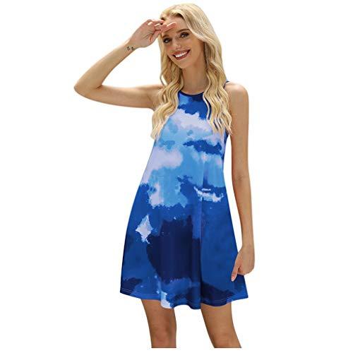 Fcostume - Vestido de verano para mujer, sin mangas, minivestido, multicolor, vestido de playa, vestido de mujer, línea A, vestido de ocio, talla, talla grande azul M