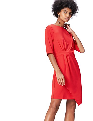 Marca Amazon - find. Drape Hem_AN5414 - Vestidos Mujer, Rot, 36, Label: XS