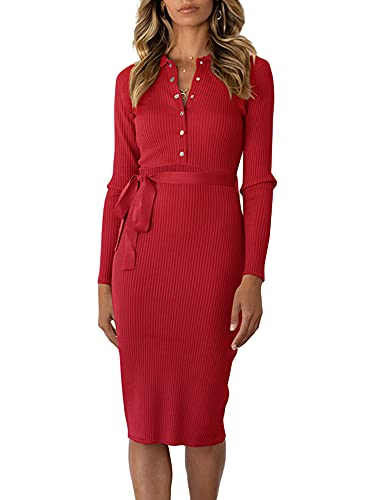 Vestido Punto Mujer Vestido Manga Larga Longitud Media Cremallera Vendaje Botones Color Sólido Suéter Largo Informal Cuello Solapa Pullover (Rojo, L)
