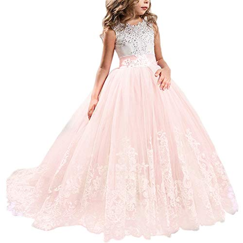 TTYAOVO Vestido de Novia Princesa de Encaje hasta el Suelo para Niñas Vestidos de Tul Talla140 (8-9 Years) 406 Rosado