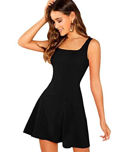 DIDK Mujer Vestidos Sin Mangas Camisola Mini Vestidos Color sólido Una línea Vestido de Verano Elegante