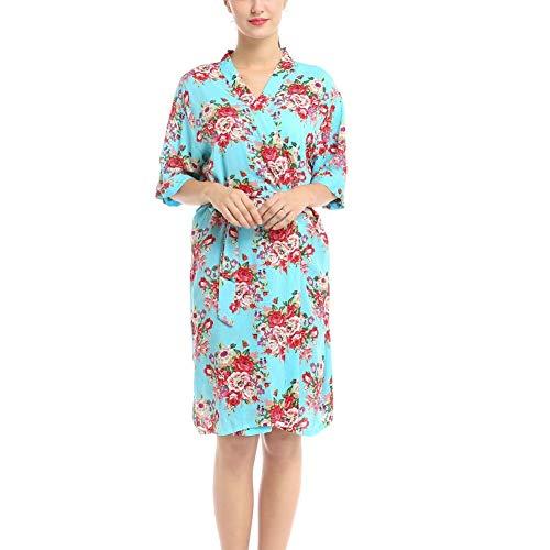 ZHYP Impreso Pijamas de algodón de Las Mujeres Cómodo Vestido de Flores de Inicio, Novia Vestido de Dama de Albornoz, cómodo, Ligero, Snug, Holgado camisón, Wrap Redondo del Estilo Easy Wear,Green-L