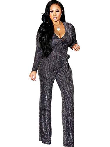 ZBYY Enterizo sexy y brillante para mujer, de pierna ancha, de manga larga, elegante, de fiesta, de cintura alta, para clubwear - plateado - Medium