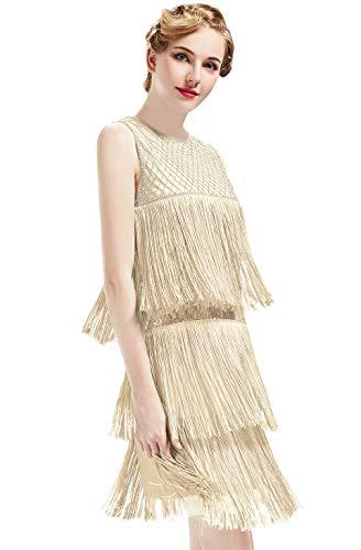 ArtiDeco - Vestido de Charleston estilo 1920 largo hasta la rodilla para mujer, vestido de fiesta de los años 20, vestido traje, Gatsby beige S