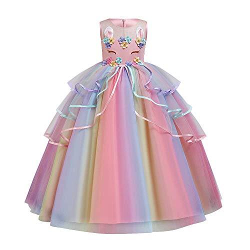 FYMNSI Disfraz infantil de unicornio para niña, vestido largo de noche, vestido maxi de flores, para boda, dama de honor, vestido de Navidad, para 4-15 años Vestido rosa con arco iris. 5-6 Años