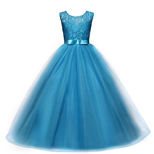 IBTOM CASTLE Vestido de niña de Flores para la Boda Niños Largo Gala Encaje De Ceremonia Fiesta Elegantes Comunión Azul 14-15 años