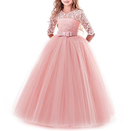 IBTOM CASTLE Vestido de niña de Flores para la Boda Princesa Largo Gala Encaje De Ceremonia Vestidos de Dama De Honor Fiesta 6-7 Años