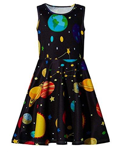 chicolife Poco Vestido niñas, de algodón sin Mangas Cool Planet Vestido Galaxy, Verano Vestido Casual para niñas pequeñas