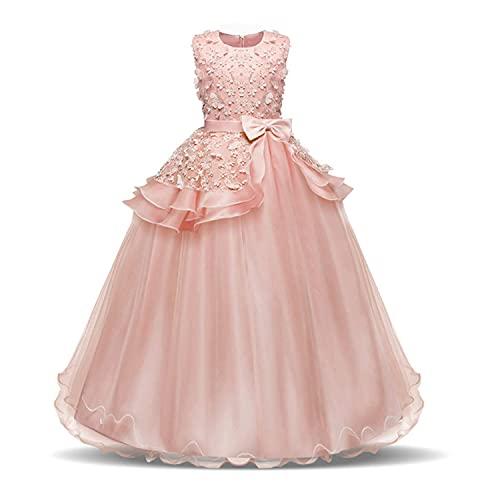 NNJXD Vestido de Princesa del Desfile con Encajes sin Mangas Falda de Fiesta para Niñas Talla (130) 6-7 años 354 Rosa-A