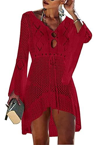 UMIPUBO - Vestido de playa para mujer, color liso, manga acampanada, estilo bohemio, para llevar sobre el bikini o el bañador, Vino rojo, Talla única