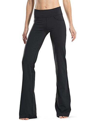 Safort Pantalones de 71 cm / 76 cm / 81 cm / 86 cm para Yoga, Bota Amplia, Tiro Alto/Regular, 4 Bolsillos, UPF50+ - Negro - XL