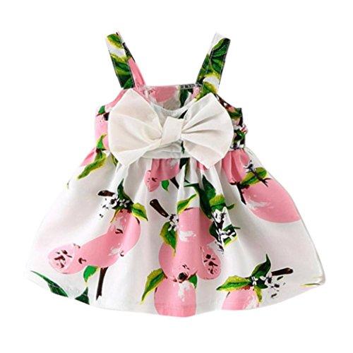 K-youth® Vestido de Niña Floral Bowknot Vestido de la Honda Princesa Vestido Bautizo Bebé Niñas Vestidos de Sin Manga Primavera Verano Ropa para 0-24 Meses (Rosa, 0-6 Meses)