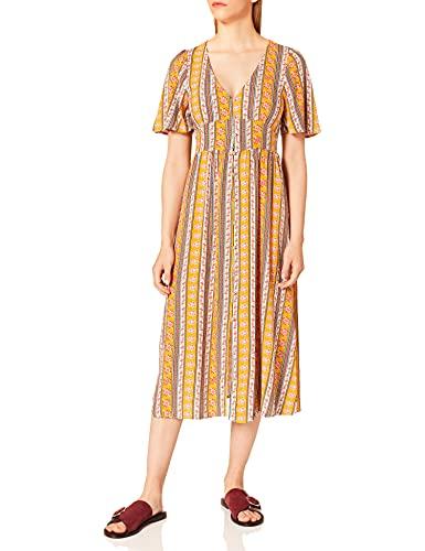 Springfield Vestido Midi Estampado, Amarillo/Dorado, 36 para Mujer