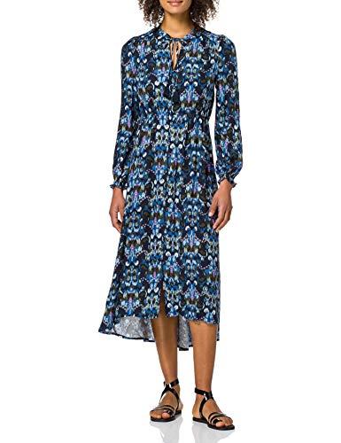 Springfield Vestido Midi Estampado Étnico, Azul Claro, 38 para Mujer
