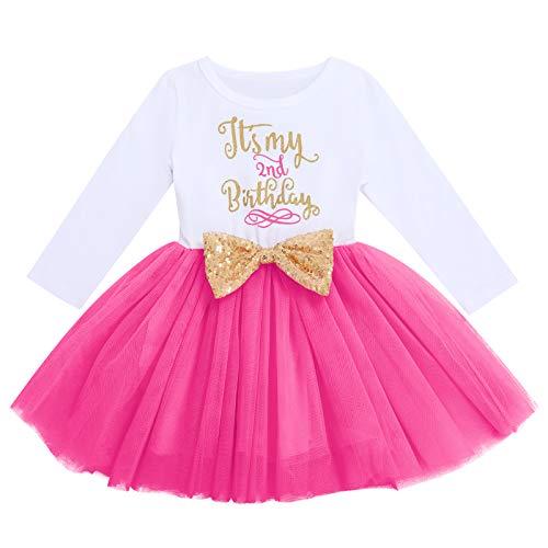 FYMNSI Vestido de manga larga para bebé, para niña, vestido de manga larga, vestido de tul, vestido de princesa, vestido de fiesta para sesión de fotos Rosa - Es mi segundo cumpleaños 2 Años