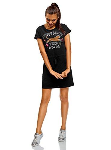 oodji Ultra Mujer Vestido Recto con Jaretas, Negro, ES 44 / XL