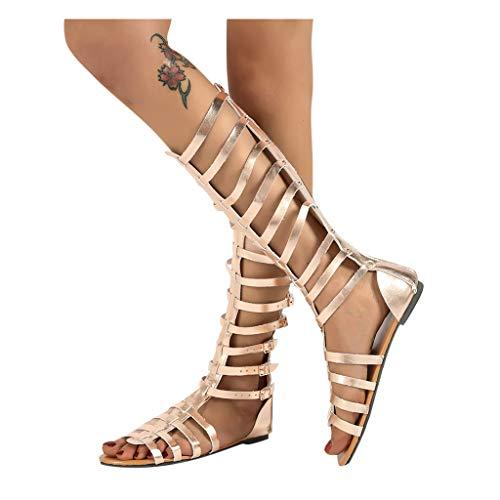 Winging Verano Mujer de estilo romano Moda Pisos casuales Botas hasta la rodilla Zapatos retro Sandals Botas con hebillapara mujer zapatos casuales con múltiples correas