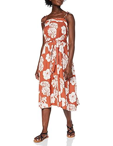Roxy Vestido de Largo Medio con Tirantes para Mujer Informal, Marsala Isha, L
