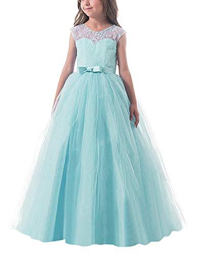 NNJXD Vestido de Fiesta de Tul de Encaje Falda de Princesa para Niñas Talla (140) 8-9 Años Verde