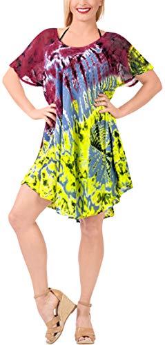 LA LEELA Playa Chica Vestido Corto de Color Amarillo Blood Rojo Nos ES TAMAÑO: 42 (L) - 48 (XL)