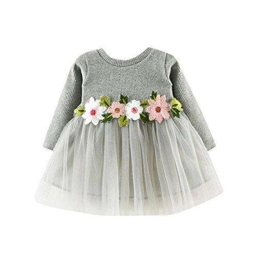 K-youth® Vestidos Bebé Niña Floral Tutú Princesa Vestidos de Manga Larga Otoño Invierno Ropa (Gris, 12-18 Meses)