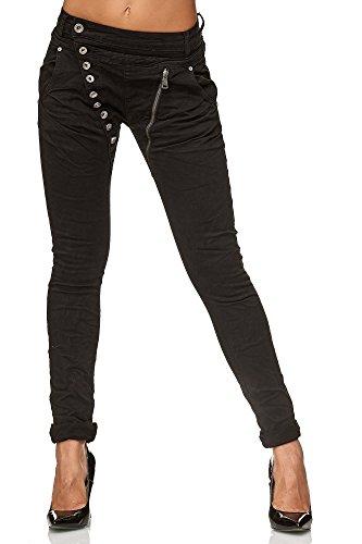 Elara Jeans para Mujer Boyfriend Baggy Botones Chunkyrayan Negro C613K-15/F15 Black 38/M