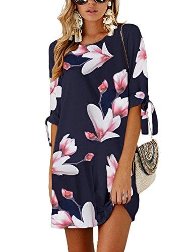 YOINS Vestido de mujer de cuello redondo, blusa, vestido de invierno para mujer, manga larga, minivestido, túnica, suelto, con lazo B-rosa. L
