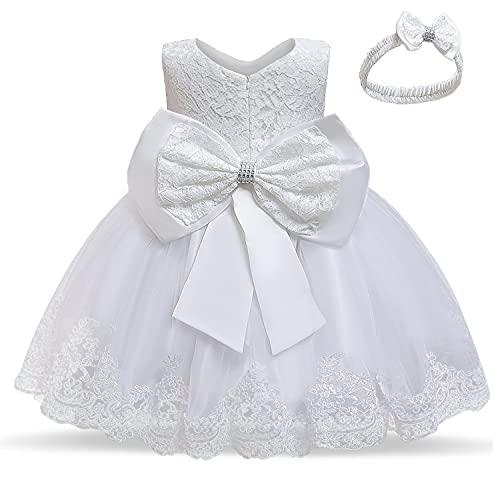 TTYAOVO Bebé Boda Bautismo Bautizo Tutu Vestido Chicas Princesa Vestir Talla(90) 12-24 Meses 648 Blanco