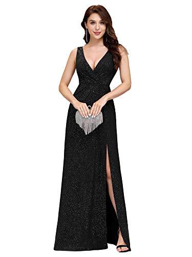 Ever-Pretty Vestido Fiesta Noche Largo Cuello V sin Mangas para Mujer Brillante Imperio Abertura Negro 46