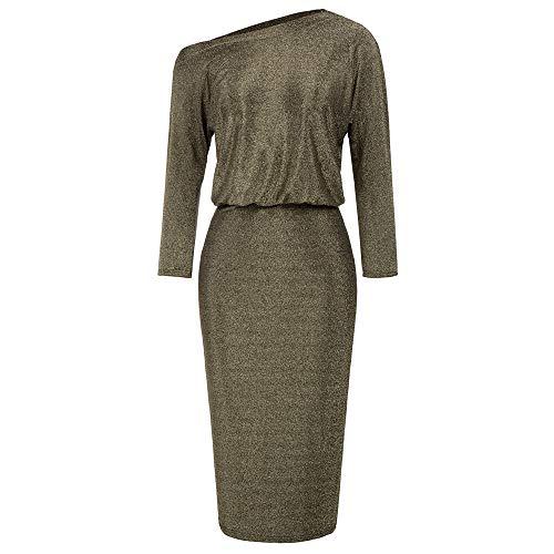 Vestidos de Mujer Vestido de Verano Elegante Vestido de Noche Dorado Vestidos Ajustados Cortos Ropa de Club para cóctel S CLE02089-1