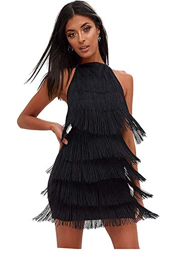 keland - Vestido Gatsby Vestido con borlas para Mujer, sin Mangas, Vestido con Franja Vestidos Cortos de Fiesta Baratos (Negro, M)