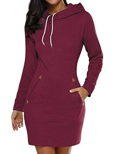 Edjude Sudadera Larga para Mujer con Capucha con Bolsillo de Manga Larga Vestido Deportiva Jersey Otoño Invierno Primavera Rojo S