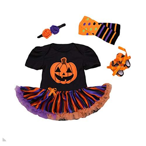 BabyPreg Mi Primer Traje de Halloween para niña Infantil Disfraz de Acción de Gracias Conjunto de Vestido de Calabaza para bebé (3-6 Meses, Calabaza Naranja)