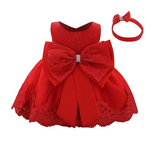 FYMNSI Vestido de niña pequeña o bebé para fiesta de cumpleaños o bautizo, con lazo, flores, encaje, diadema y tutú de tul, para bodas, niña paje, estilo princesa rojo 9-12 Meses