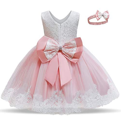 TTYAOVO Vestido de Fiesta de Encaje de Dama de Honor de la Boda de la Princesa de Las Niñas Tamaño(110) 3-4 Años 06 Rosa