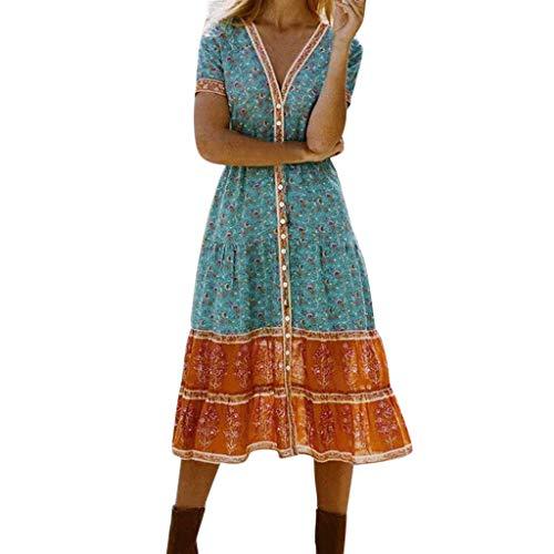 riou Vestido de Mujer con Estampado Bohemio Playa y Fiesta Vestidos Manga Corta Elegantes Vintage Verano Tallas Grandes Vestidos Largos Casual Vestir Mujeres de Ropa