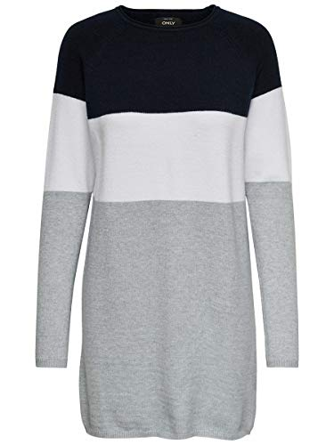 Only Onllillo L/s Dress Knt Noos Vestido, Multicolor (Night Sky White), Large para Mujer