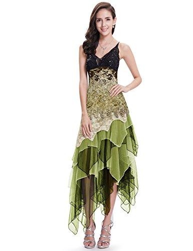 Ever-Pretty Asimetrico Vestido de Noche Corto Vestido de Fiesta Cuello en V Vestido Casual para Mujer Verde 48