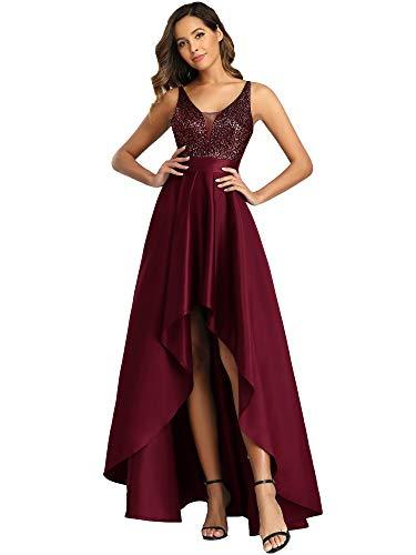 Ever-Pretty Vestido de Fiesta para Mujer Largo Sin Mangas Escote en V Corte Imperio Elegant Alta Baja Burdeos 36