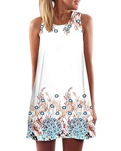 YOINS Vestido corto casual sin mangas para mujer, vestido de verano de encaje, vestido liso